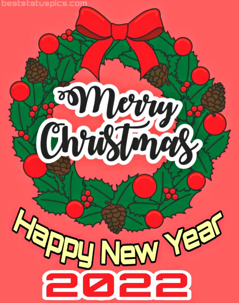 Happy New Year 2022 and Merry Christmas wishes card
