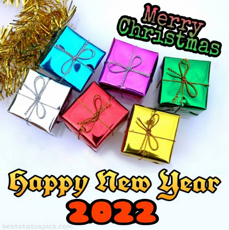 Happy New Year 2022 and Merry Christmas wishes images with gifts for family