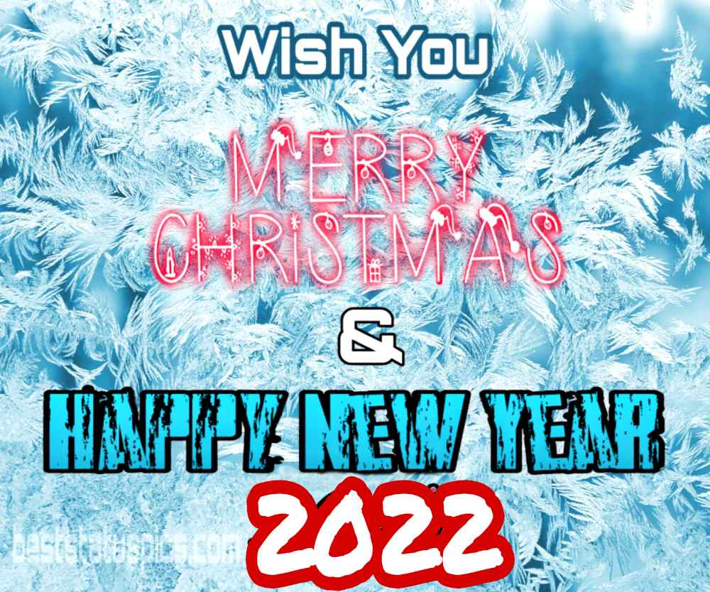 Cute Happy New Year 2022 and Merry Christmas wishes images with winter tree and snow
