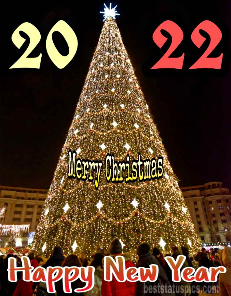 Wonderful Happy New Year 2022 and Merry Christmas wishes pic HD with xmas tree