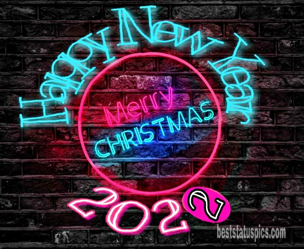 Happy New Year 2022 and Merry Christmas wishes pic with lighting