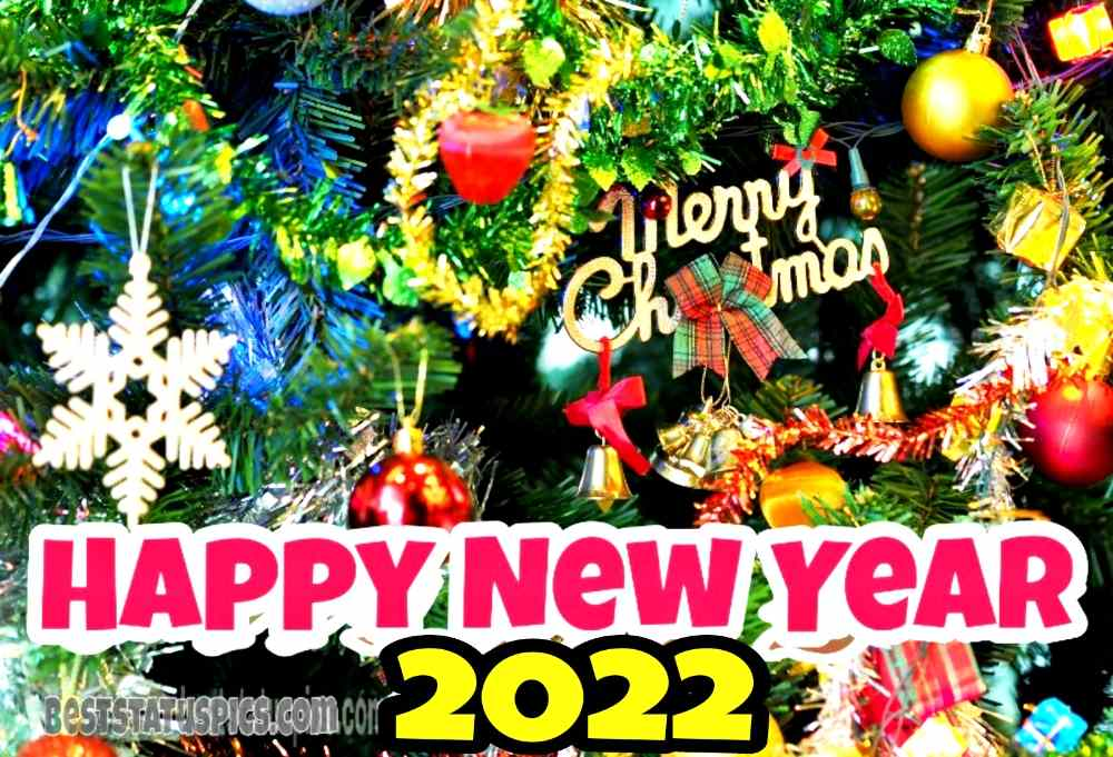 Happy New Year 2022 and Merry Christmas wishes photo for friends and family
