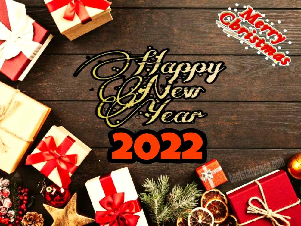 Happy New Year 2022 and Merry Christmas wishes photo for Facebook