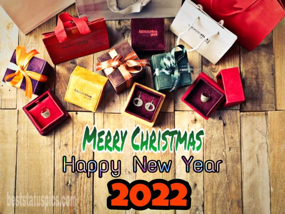 Happy New Year 2022 Merry Christmas Greetings with gifts for friend