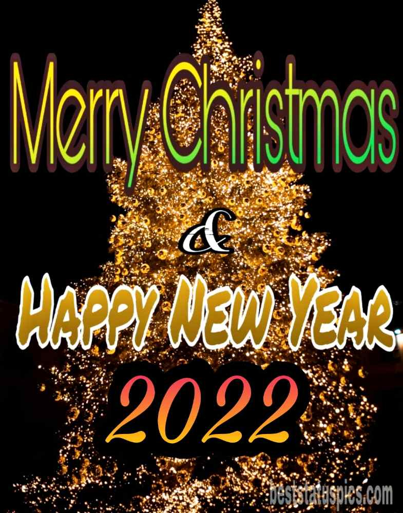 Merry Christmas and Happy New Year 2022 wishes images HD with Christmas tree