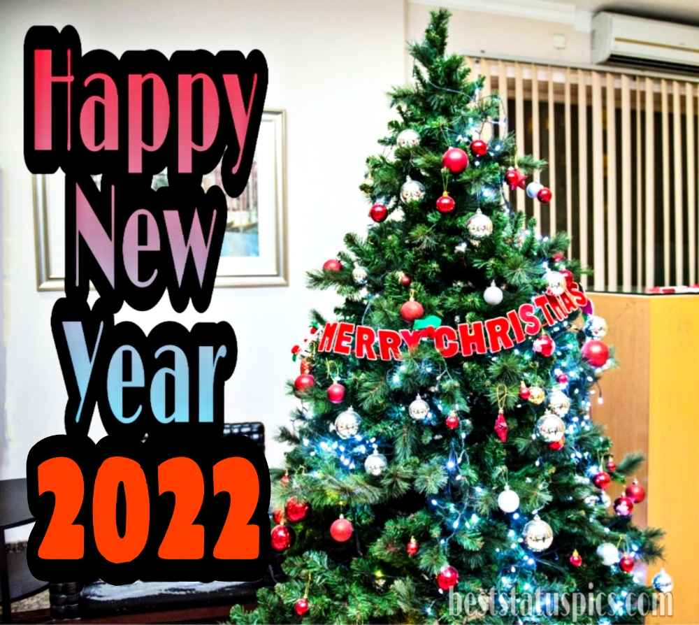 Beautiful Merry Christmas and Happy New Year 2022 images with xmas tree for boss