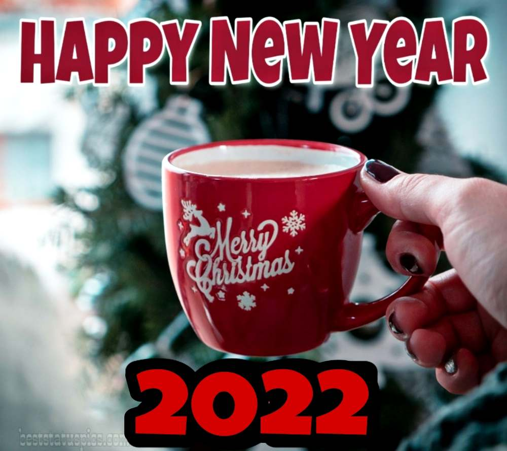 Happy New Year 2022 and Merry Christmas wishes images with coffee