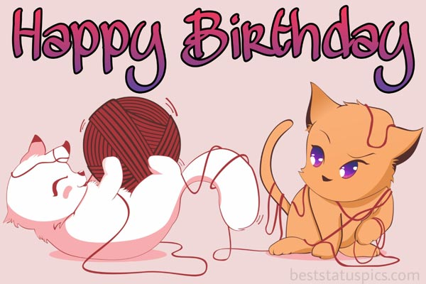Cute happy birthday images with cats and kitten for friend, sister, daughter, cousin, niece, lover, him or her