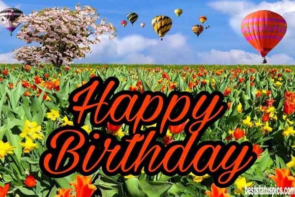 Happy birthday wishes images HD with flowers, tree, garden and balloons