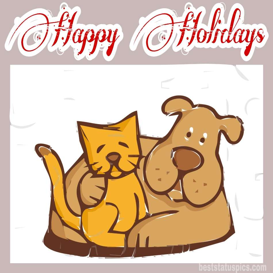 Happy holidays 2022 wishes picture and card with dogs and cats