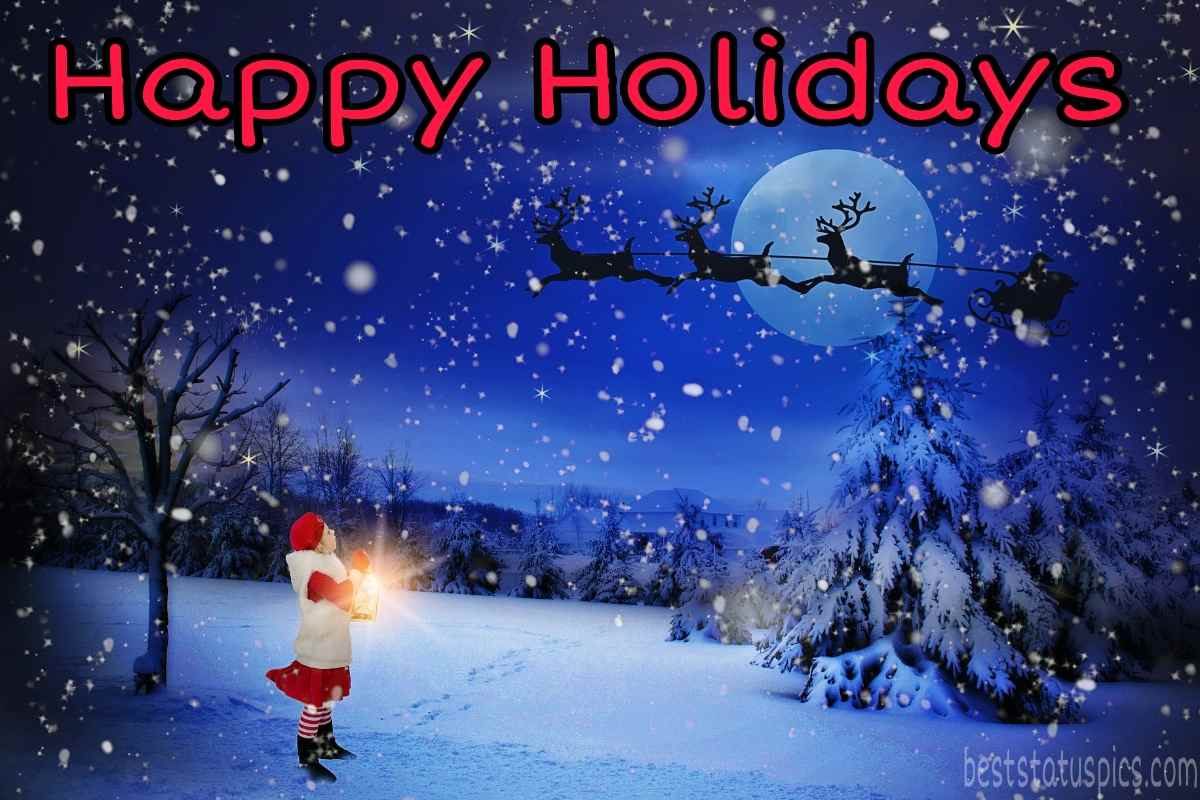 Happy holidays 2022 wishes images with Christmas tree and deer for love and friends