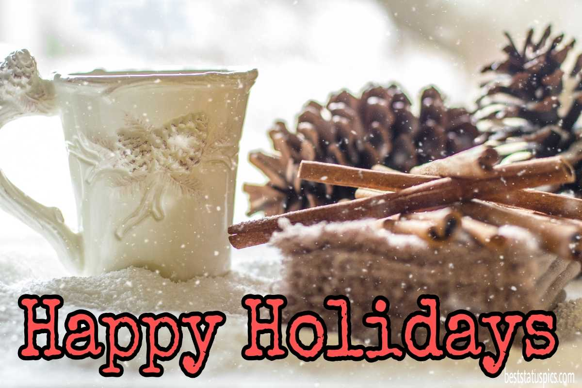 Happy holidays 2022 greeting cards with coffee and snow for Facebook status