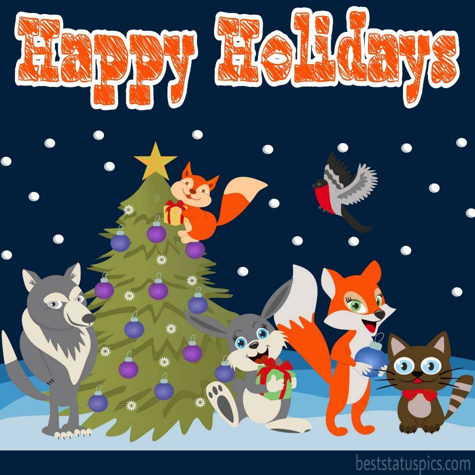 Happy holidays 2022 wishes card and ecard with dogs, dogs, fox and christmas tree image for friends