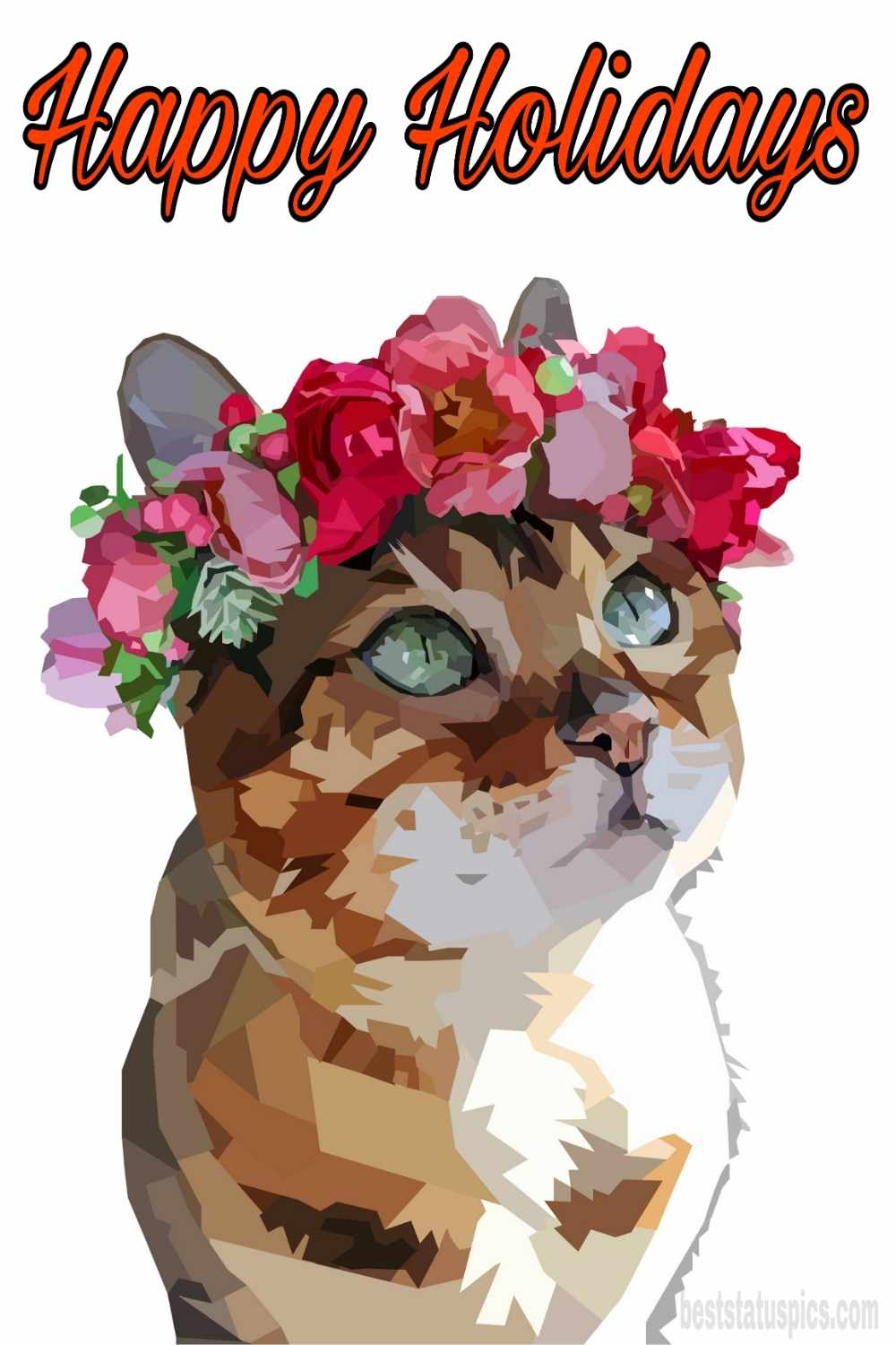 Happy holidays 2022 wishes images with cat for friends and pinterest