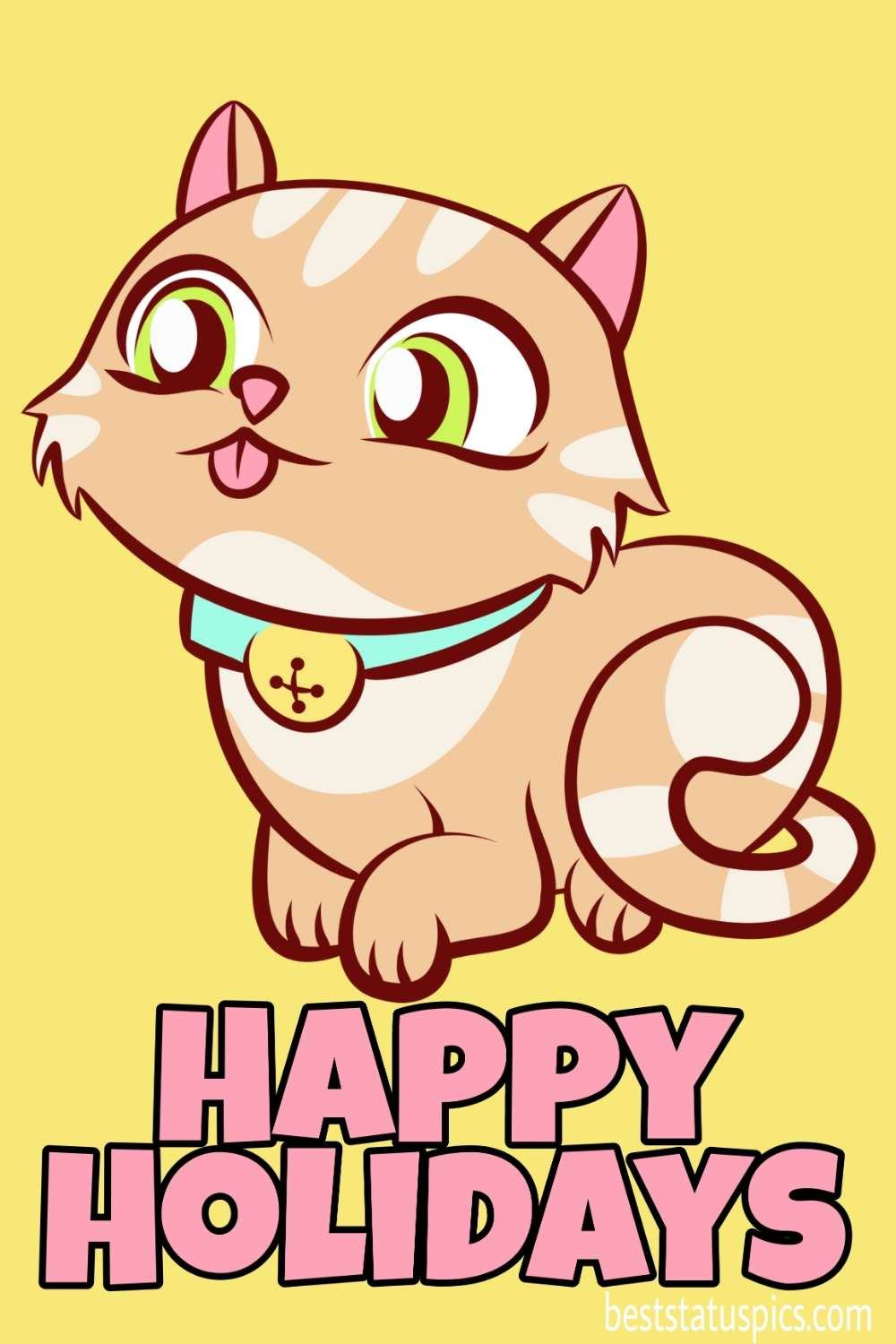 Happy holidays 2022 wishes images with cute cat for love and girlfriend