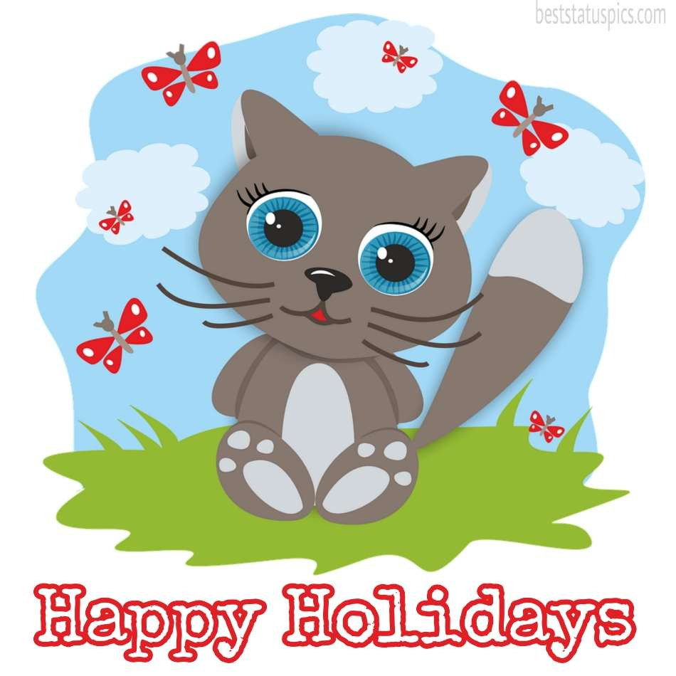 Happy holidays 2022 wishes picture with beautiful cat for love and friends