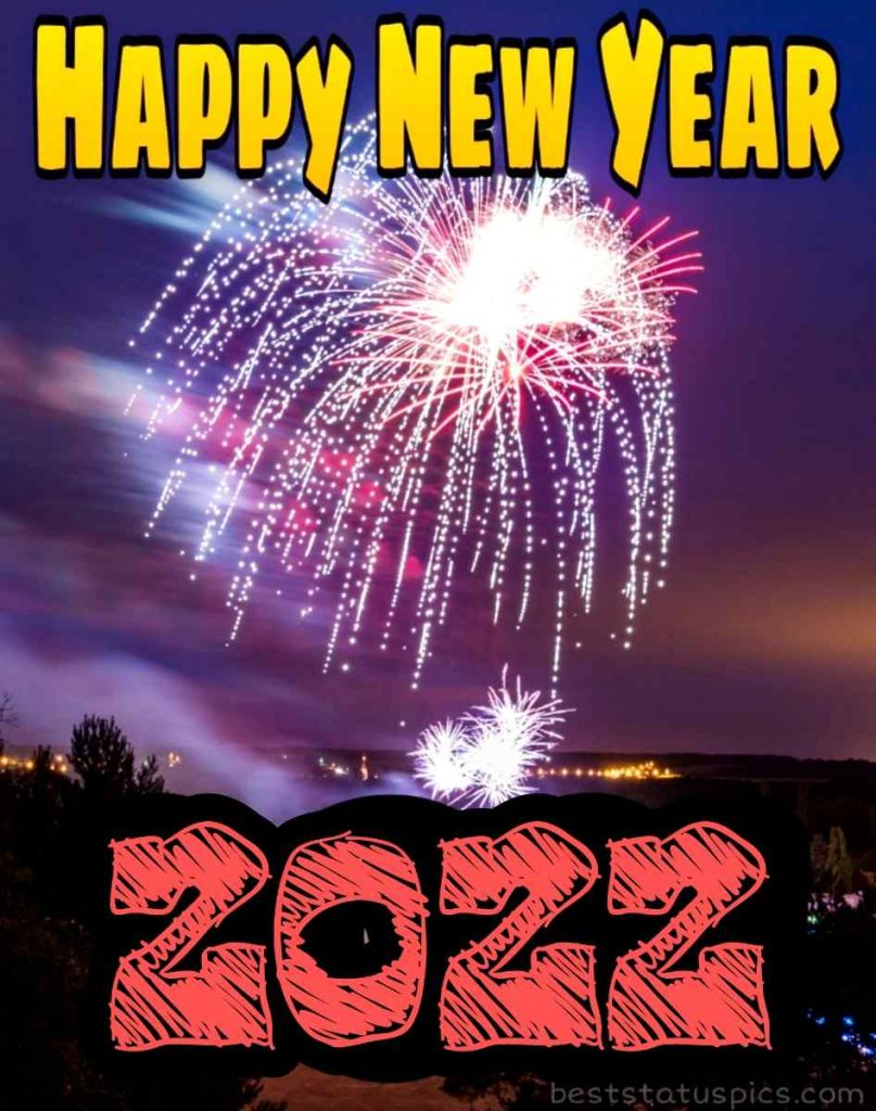 Happy new year 2022 wishes photo with firework and night sky