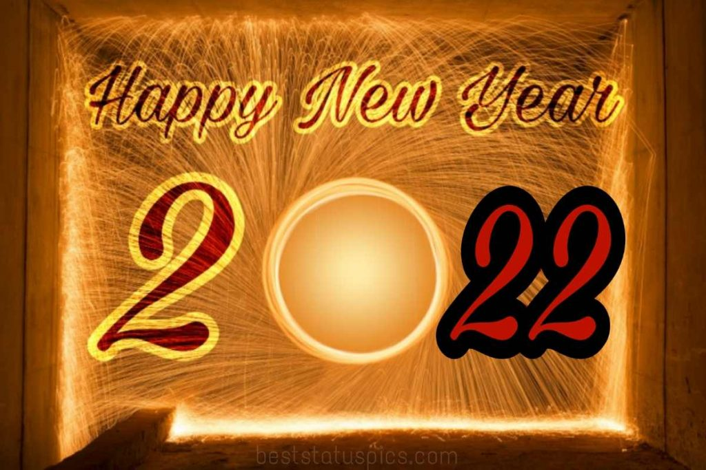 Happy new year 2022 greetings with firework