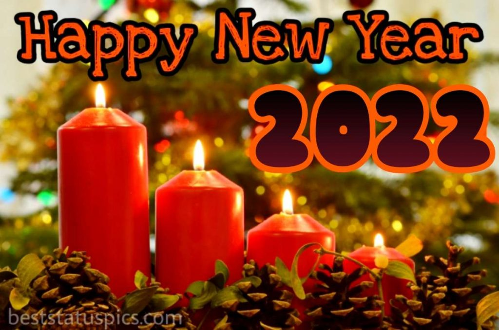 Happy new year 2022 wishes images with candle