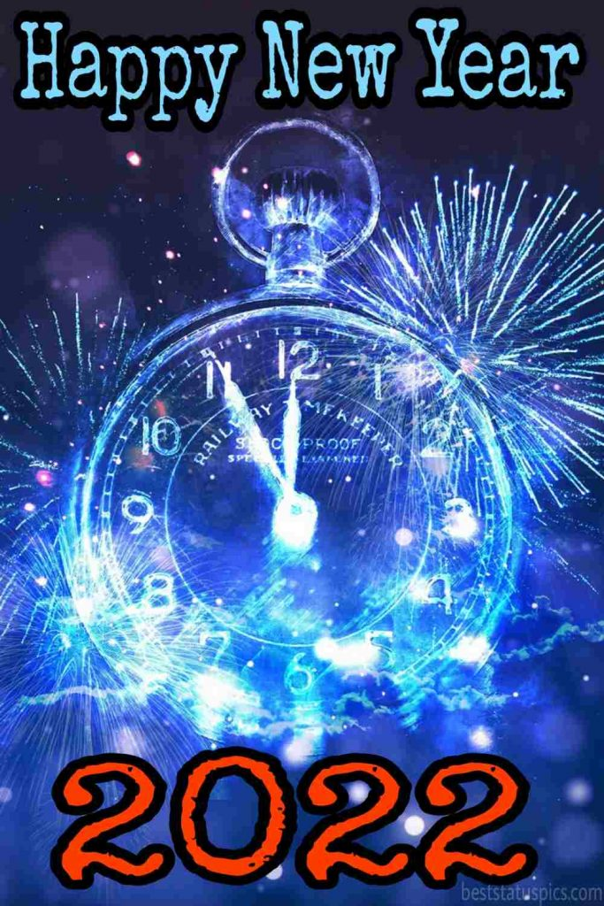 Happy new year 2022 wishes images with watch for friend