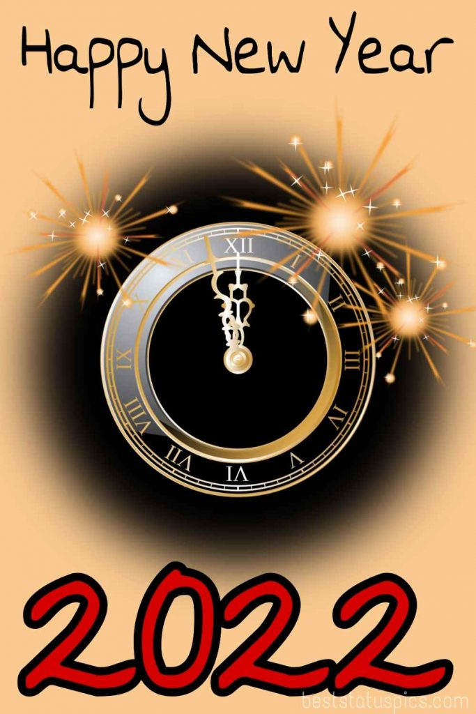Happy new year 2022 wishes wallpaper with clock