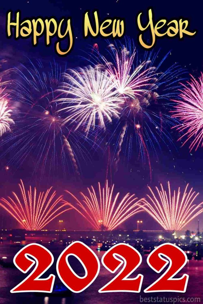 Happy new year 2022 wishes wallpaper with firework