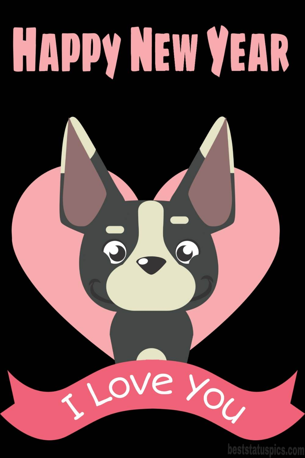 Happy new year 2022 and I love you wishes pic with cute dog and heart