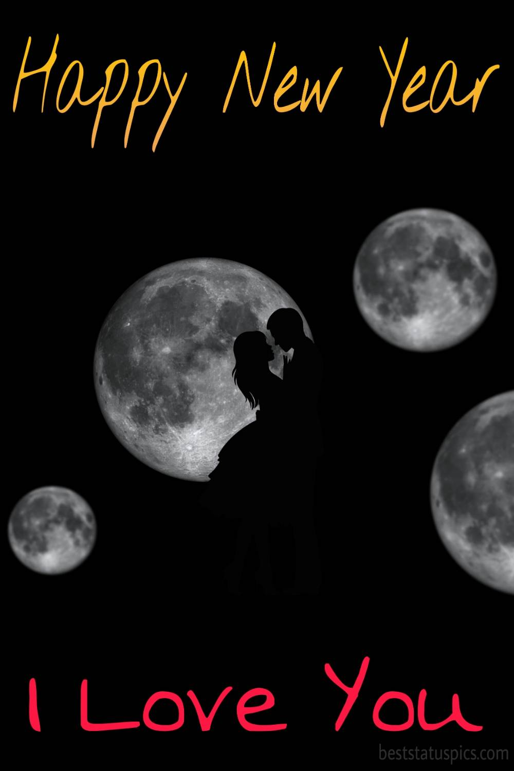 Romantic Happy new year 2022 and I love you wishes picture with moon for love