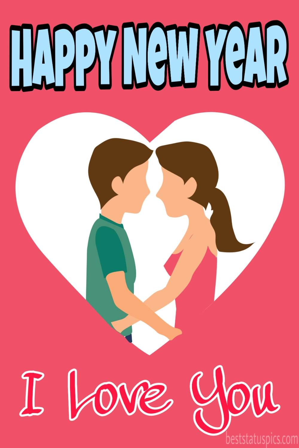 Romantic Happy new year 2022 love you wishes card with love couples for Whatsapp DP