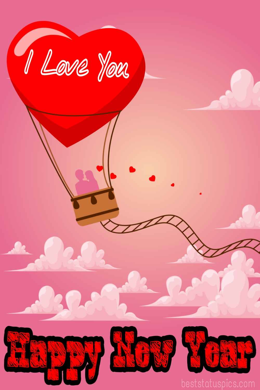 Happy new year 2022 and I love you images with heart balloon and couples for boyfriend and girlfriend