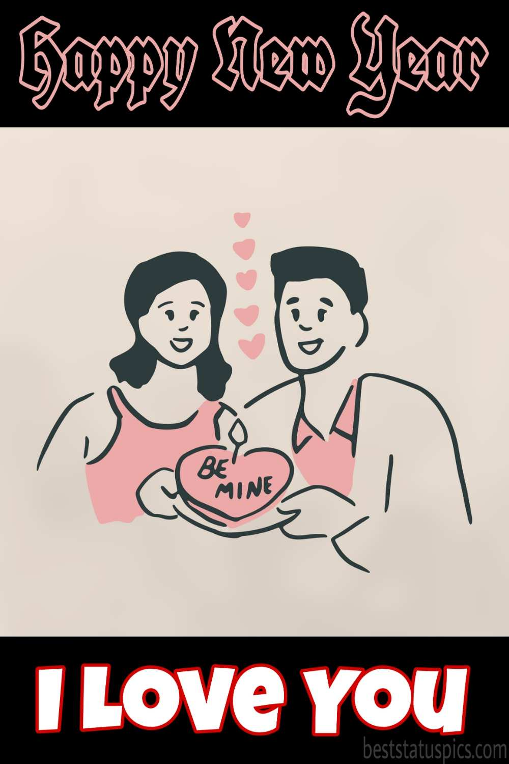 Romantic Happy new year 2022 and I love you picture with heart cake for couples, boyfriend and girlfriend