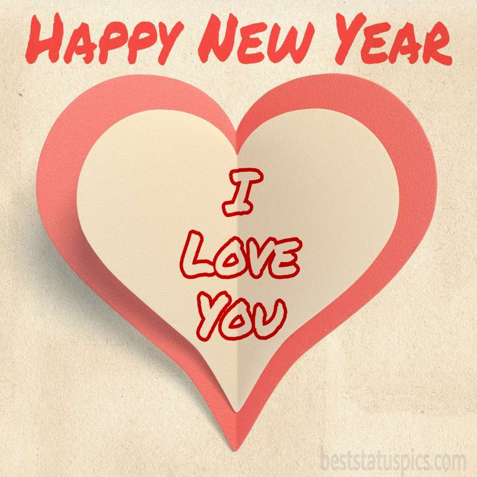 Happy new year 2022 and I love you cards with heart