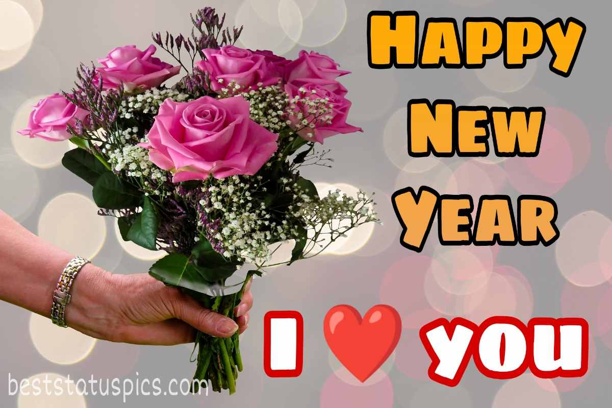 Happy new year 2022 wishes images with rose bouquet for loved one